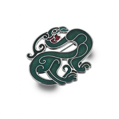 Celtic Bird Brooch Silver Plated Green Brand New Gift Packaging